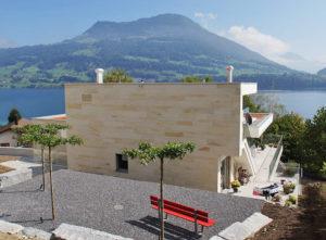 Isolation, Fassade: Lettenrain Meggen, Ansicht Rückseite und Umgebung