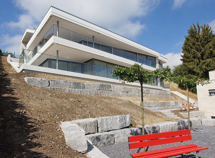 Isolation, Fassade: Lettenrain Meggen, Ansicht von unten